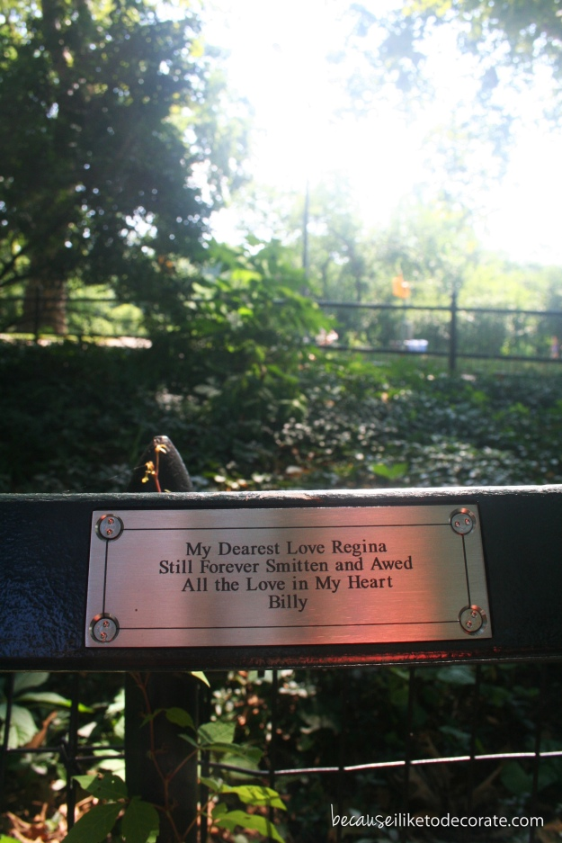 Dedication bench in Central Park