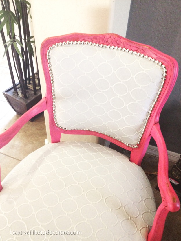 #upholstery, #vintagechair, #becauseiliketodecorate, #chic, #pink